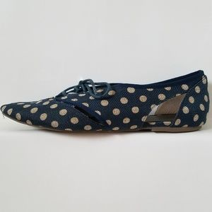Matisse for Anthropology polka dots laced up flats